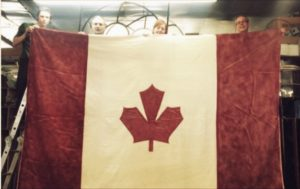 Bill fashioned himself an extra large Canadian flag!
